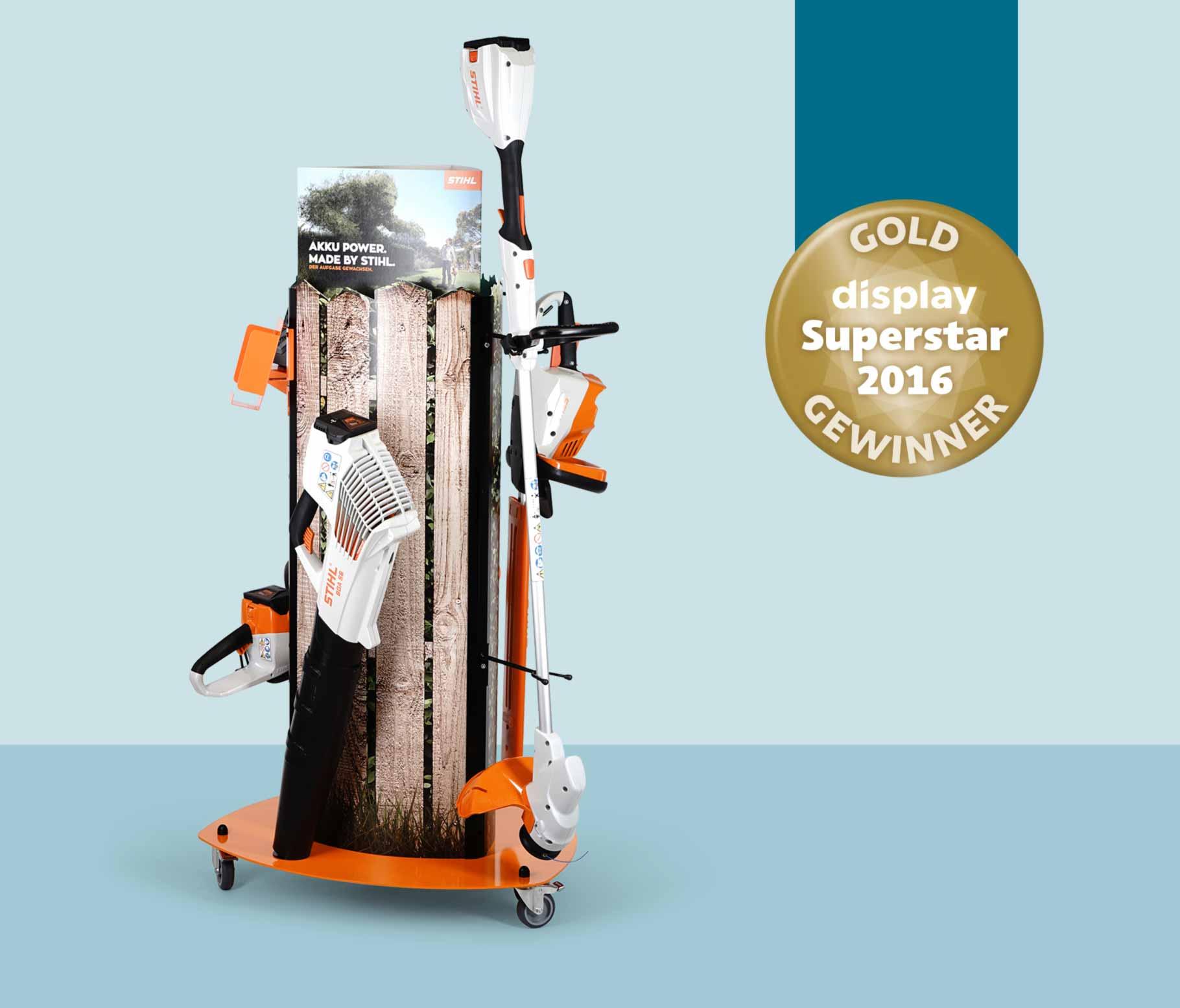 2016: Gartengeräte-Display für Stihl, ausgezeichnet mit dem Superstar Award in Gold..