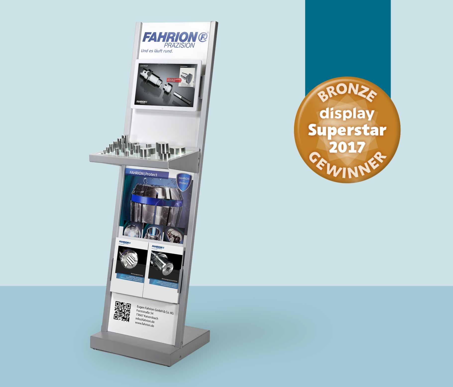 2017: Digital Signage Display für Fahrion in Zusammenarbeit mit der Tekto GmbH erhält den Superstar in Bronze..